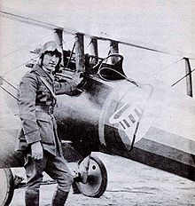 Airplane Picture - Rickenbacker with his Nieuport 28 - note offset guns