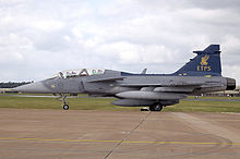 Airplane Picture - Empire Test Pilots' School JAS 39B Gripen taxis after landing at RIAT 2008.