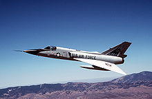 Airplane picture: One of the last two F-106s in active service, seen here in 1990 as a safety chase aircraft in the B-1B aircraft production acceptance flight test program.