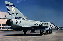Airplane picture: An F-106A of the Montana ANG viewed from the rear.