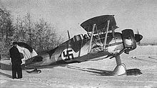 Airplane Picture - Swedish Voluntary Air Force Gladiator fighter from the air squadron F 19, with Finnish Air Force markings