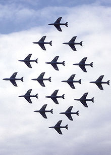 Airplane Picture - Sixteen Hunters of the RAF Black Arrows perform aerobatics at the Farnborough Airshow, England (circa 1960)