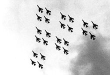 Airplane Picture - The 24-ship flyover formation, Diamonds on Diamonds, was used at the F-105 retirement at Hill Air Force Base, UT on 4 June 1983