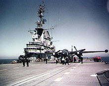 Airplane Picture - AJ-1 Savage attack plane on the USS Oriskany's flight deck