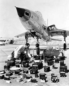 Airplane Picture - Front view of Republic F-105B with avionics layout
