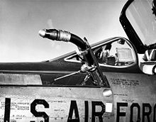 Airplane Picture - Republic F-105D-6-RE refueling probe detail. The -D model had two types of in-flight refueling equipment: a probe (for the drogue) and a receptacle (for the boom).