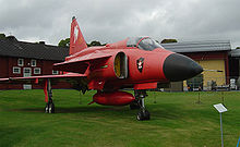 Airplane Picture - Special red version Viggen that can also be seen at the Swedish air force museum in Linkx�ping.