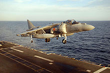 Airplane Picture - An AV-8B Harrier II Plus from the Spanish aircraft carrier Principe de Asturias (R11) prepares to land.