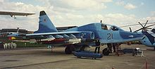 Airplane Picture - Russian Su-25TM. Carries (from tip to fuselage) R-73, R-77, 8*Vikhr, Kh-29T, Kh-58. White dome of