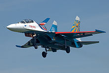 Airplane Picture - Su-27 from Russian Knights aerobatic team on landing at Kubinka airbase