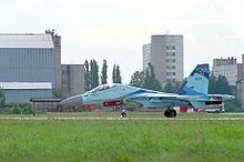 Airplane Picture - Su-35UB landing