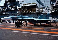 Airplane Picture - Russian fighter Su-27K (later designated Su-33) on the deck of Admiral Kuznetsov