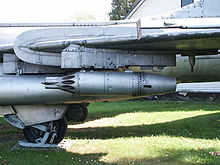Airplane Picture - Su-7BKL landing gear with the unique skid, and a UB-16 57 mm rocket launcher