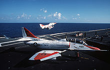 Airplane Picture - A US Navy TA-4J Skyhawk of TW-3 on the deck of USS Lexington, 1989