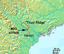 Airplane Picture - Location of the Thud Ridge and the MiG airfield on its southern tip.