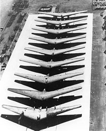Airplane Picture - Partially completed YB-35B airframes lined up for completion or conversion to YRB-49As.