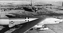 Airplane Picture - YB-52 prototype at Carswell AFB, 1955 shown with a 7th Bomb Wing B-36