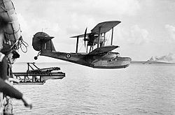 Airplane Picture - Supermarine Walrus being launched from the catapult of HMS Bermuda (1943)