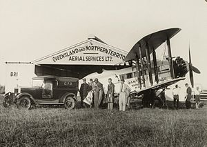 Warbird Picture - The arrival of DH.61 'Apollo' bringing the first aerial mail in Brisbane April 23, 1929. Notice the pilot's open cockpit behind the wings.