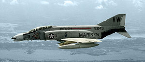 Warbird Picture - A F-4B Phantom II of Marine fighter-bomber squadron VMFA-314 Black Knights