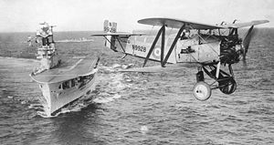Fairey Flycatcher of 401 Flight over HMS Eagle, 1930