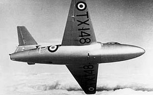 Warbird Picture - TX148, the third prototype on a test flight, c. 1949