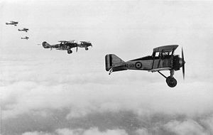Warbird Picture - Gloster Grebe of the NZPAF leads Bristol Fighters, late 1920s.