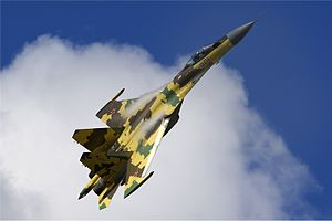 Warbird Picture - A Su-35S of the Russian Air Force performing a demonstration at MAKS Airshow 2009.