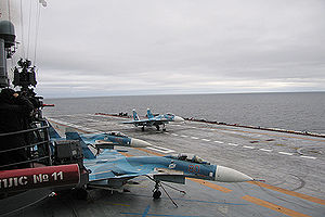 Warbird Picture - Su-33s on board Admiral Kuznetsov.