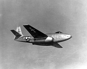 Airplane Picture - S/n 44-84990 in test flight over Wright Field, May 1945