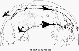 Airplane Picture - Reconnaissance/Strike to search/knock out rail-based ICBMs[25] used refueling from tankers (at left) for two profiles.