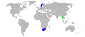 Airplane Picture - Gripen users 2010 in blue, orders in green