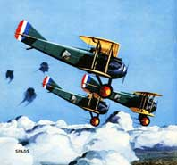 Airplane Picture - Spads, 1930s magazine illustration