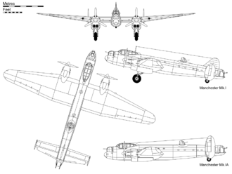 Warbird picture - Orthographic projection of the Avro Manchester Mk I, with profile detail of Mk.IA
