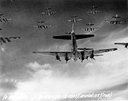 Airplane Pictures - Over Germany, B-17 Flying Fortresses from the 398th Bombardment Group fly a bombing run to Neum�nster, Germany, on 13 April 1945