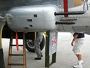 Airplane Pictures - Closeup of an early model B-25 gun pod