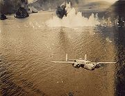Airplane Pictures - B-25 of 13th Squadron, 3rd Bomb Group, on low-level skip-bombing mission in New Guinea