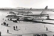 airplane pictures - Three B-52Bs of the 93rd Bomb Wing prepare to depart Castle AFB, California, for their record-setting round-the-world flight in 1957