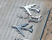 airplane pictures - NASA's NB-52B Balls 8 (lower) and its replacement B-52H on the flight line at Edwards Air Force Base.
