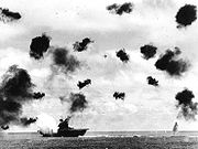 Yorktown hit by an air-launched torpedo