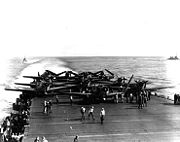 Devastators of VT-6 aboard USS Enterprise being prepared for take off during the battle