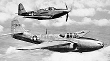 Airplane Picture - P-59A (S/N 44-22609, first production -A model) and P-63 (S/N 42-69417) in flight.