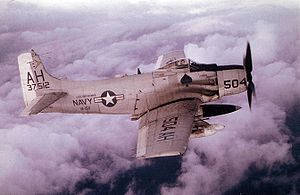 Warbird picture - U.S. Navy A-1H Skyraider from Attack Squadron VA-152 over Vietnam in 1966.