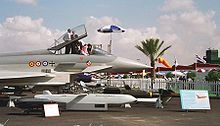 Airplane Picture - Prototype on display at the 1998 Dubai Airshow. The multiple roundels for the air forces are: (left to right) Spanish Ej�rcito del Aire, Italian Aeronautica Militare, British Royal Air Force, and German Luftwaffe.