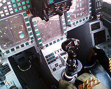Airplane Picture - MHDDs and Pedestal Panel with centre stick in the Typhoon cockpit