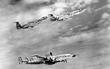 Lockheed F-104A-15-LOs in flight with Lockheed EC-121