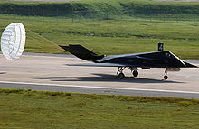 Airplane Picture - An F-117A during landing employing a drag-chute.