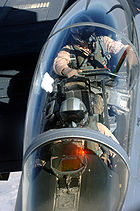 Airplane picture - A view of an F-15E cockpit from an aerial refueling tanker.