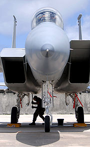 Airplane picture - An F-15 with intake ramps in different positions