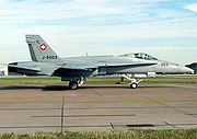 Airplane Pictures - F/A-18C of the Swiss Air Force taxis for takeoff